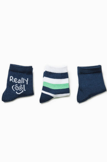 Three-pair pack solid colour and striped socks, White/Blue, hi-res