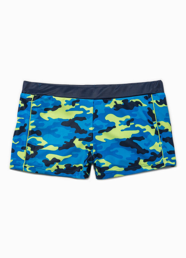 Stretch swim boxer shorts with camouflage | OVS