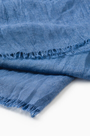 Solid colour viscose blend pashmina, Blue, hi-res