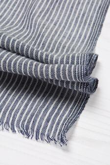 Striped pattern cotton pashmina, White/Blue, hi-res