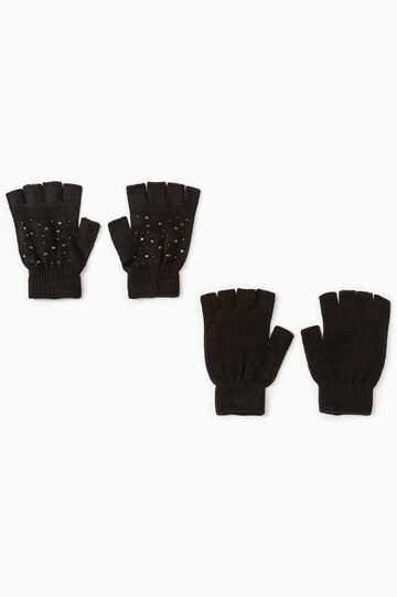 Solid colour gloves with diamantés, Black, hi-res