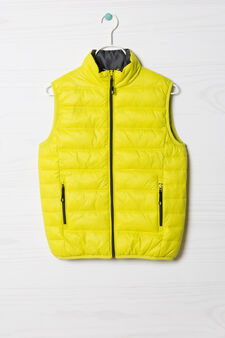 Quilted waistcoat with high collar, Green, hi-res