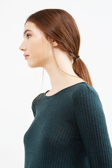 Ribbed dress with ties on the back, Dark Green, hi-res