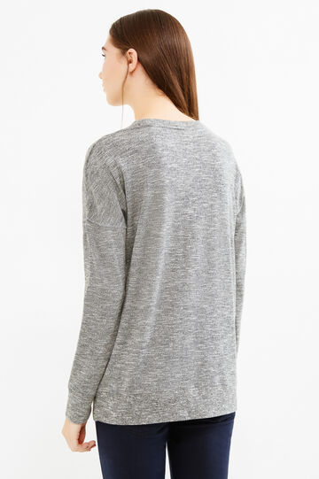 Cotton blend sweatshirt with printed lettering, Grey Marl, hi-res