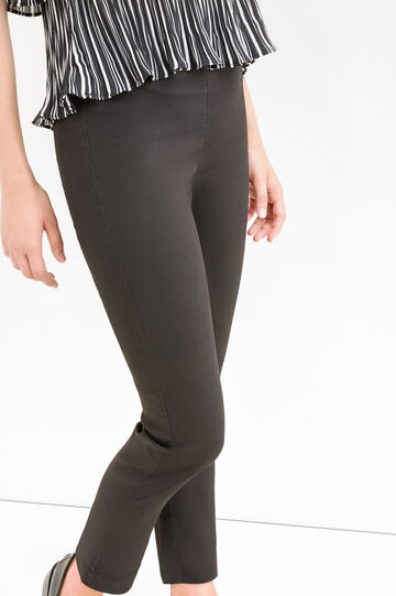 Solid colour stretch cotton trousers, Black, hi-res