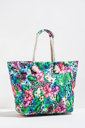Floral pattern beach bag, Multicolour, hi-res