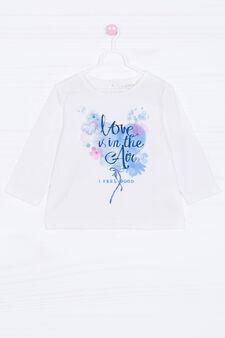 Printed stretch T-shirt, White, hi-res