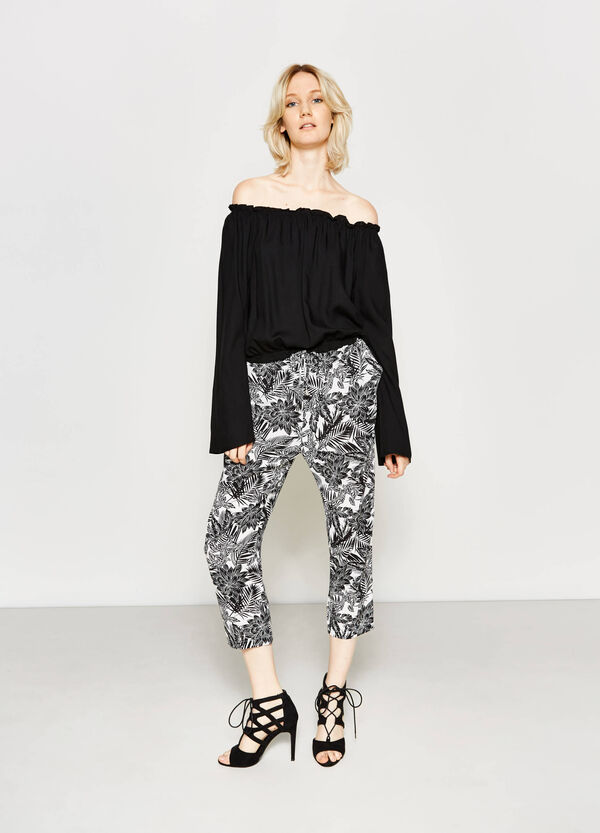 Crop trousers with floral print | OVS
