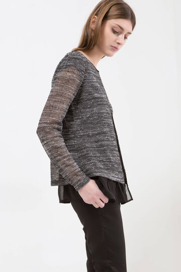 Mélange cardigan with faux layered effect., Black/White, hi-res
