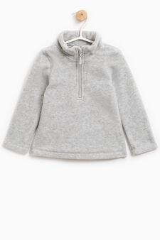 Solid colour sweatshirt with high neck, Grey, hi-res