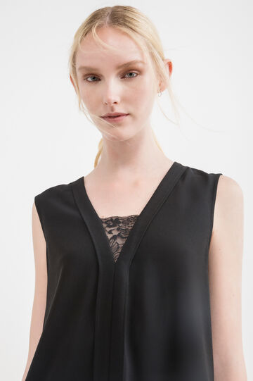 Sleeveless blouse with lace insert, Black, hi-res