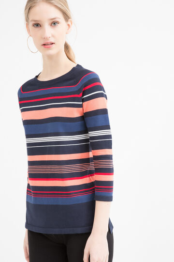 Cotton blend striped pullover., Navy Blue, hi-res