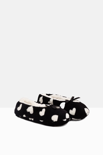 Heart print slippers, White/Black, hi-res