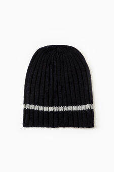 Solid colour ribbed beanie cap, Navy Blue, hi-res