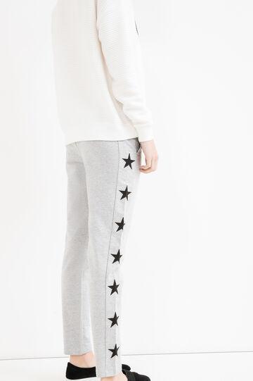 Pantaloni tuta con patch stelle, Grigio melange, hi-res