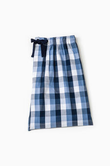 Pyjama shorts in check cotton, Blue, hi-res