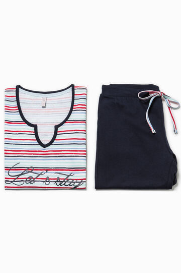 Pijama de rayas con estampado, Blanco/Azul/Rojo, hi-res