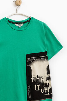 Cotton T-shirt with faux layering, Emerald Green, hi-res