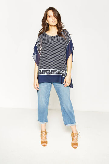 Curvy crew neck blouse with print, White/Blue, hi-res