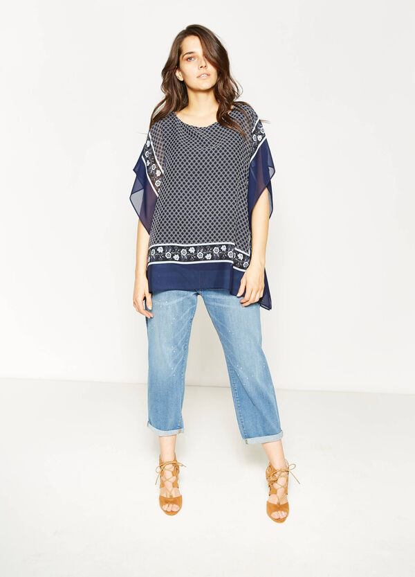 Curvy crew neck blouse with print | OVS