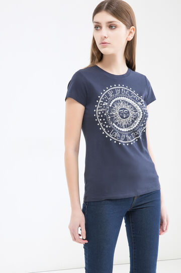 Printed T-shirt in 100% cotton, Navy Blue, hi-res