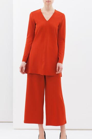 Plain stretch blouse, Orange, hi-res