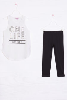 Stretch cotton outfit with print, White/Black, hi-res