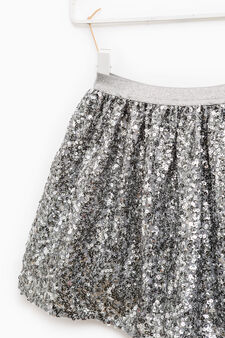 Skirt with elasticated waist and sequins, Grey, hi-res