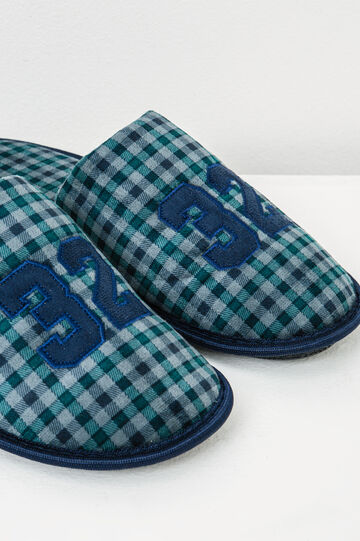 Check pattern slippers, Blue/Green, hi-res