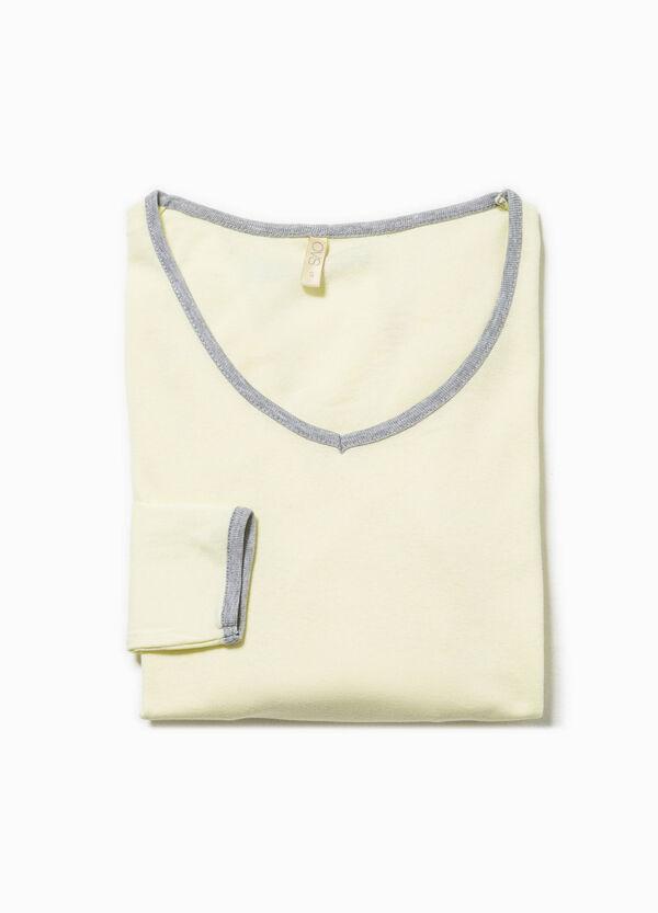 Camiseta de pijama de algodón con cuello de pico | OVS