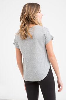 T-shirt cotone con stampa Teen, Grigio, hi-res