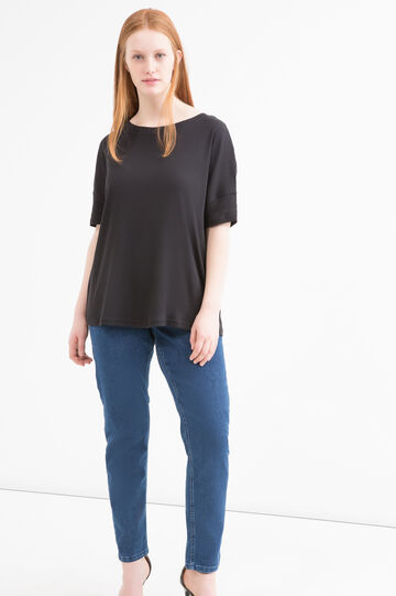Solid colour cotton blend Curvy T-shirt, Black, hi-res