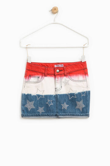Denim skirt with star diamantés, White/Blue/Red, hi-res