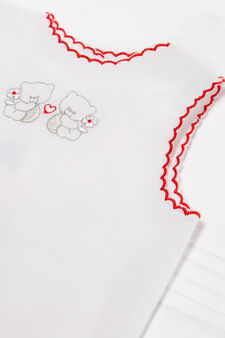 100% cotton embroidered blouse, White/Red, hi-res