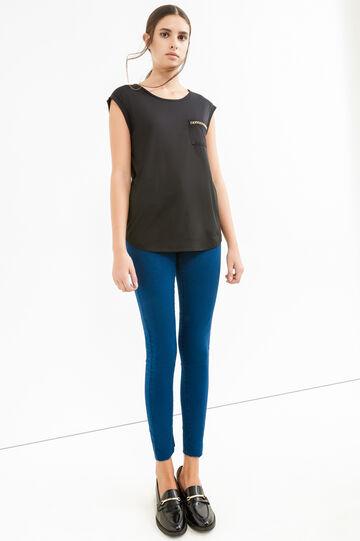 T-shirt cotone taschino con catena, Nero, hi-res