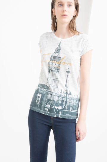 Printed cotton blend T-shirt