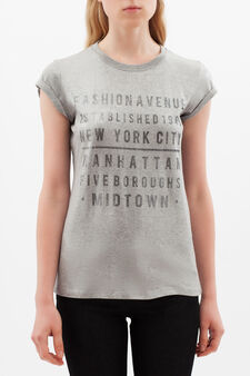 T-shirt with printed lettering, Grey/Silver, hi-res
