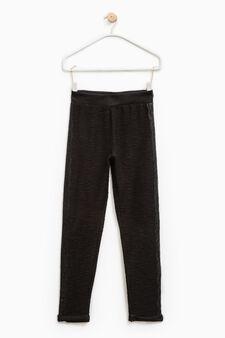 Pantaloni trama in rilievo con pizzo, Nero, hi-res