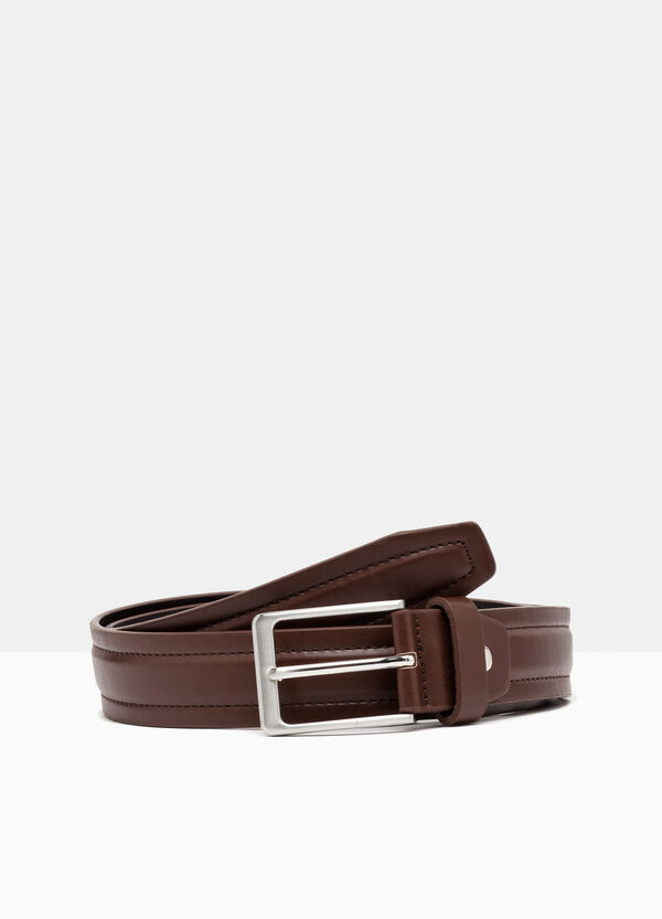 Leather look belt with double stitching | OVS