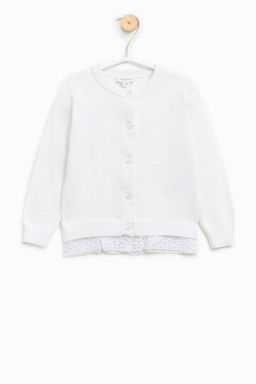 100% cotton cardigan with lace, White, hi-res