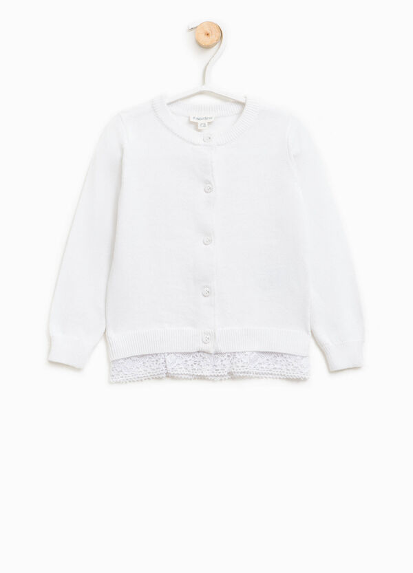 100% cotton cardigan with lace | OVS