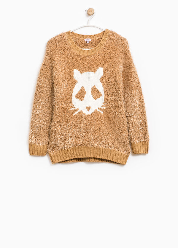 Fur pullover with embroidery | OVS