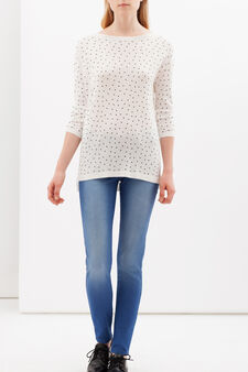 Printed pullover with three-quarter sleeves, White, hi-res
