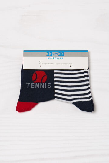Set due paia di calze corte stretch, Blu navy, hi-res