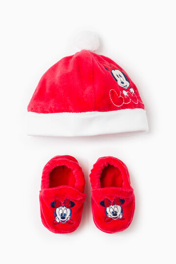Completo cappello scarpine Baby Minnie, Rosso, hi-res