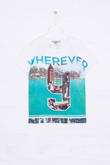 T-shirt puro cotone stampa all-over, Bianco, hi-res