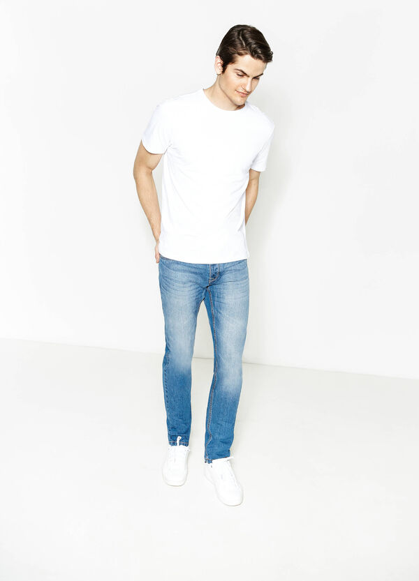 Worn-effect, slim fit jeans with buttons | OVS