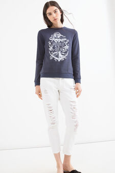 Cotton blend patterned sweatshirt, Navy Blue, hi-res