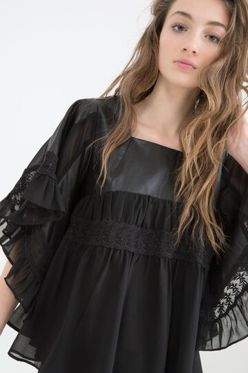 Blouse with leather look inserts, Black, hi-res