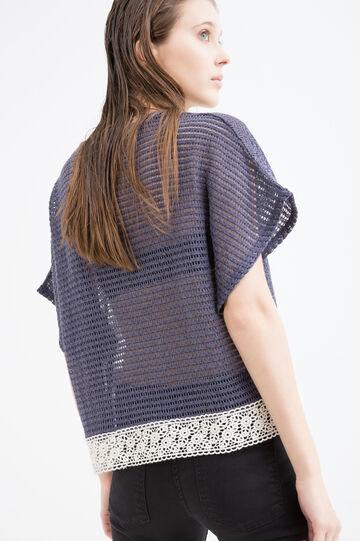 T-shirt traforata in cotone stretch, Blu, hi-res